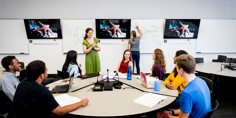 Faculty member engages undergrads in an active learning classroom