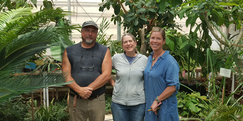 Angie Koebler (right) poses for a picture at Penn State University on her trip to pick up the Amborella plants.