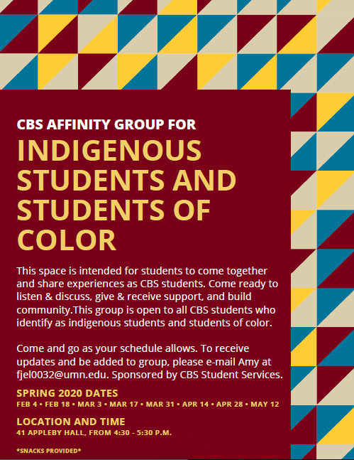 Spring 2020 - Affinity Group Flyer