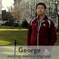 Photo of George Chao, 2013 graduate, in front of academic building