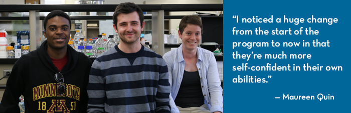 Banner image featuring two CBS students and HHMI postdoc researcher
