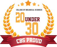 Photo of 20 under 30 logo, CBS proud banner with gold leaves forming a semi-circle