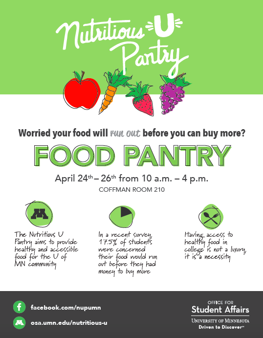 Upcoming Nutritious U Food Pantry Dates April 2018 College Of