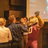 Goldy at the student reception