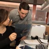 BMBB graduate student and faculty member work in the lab